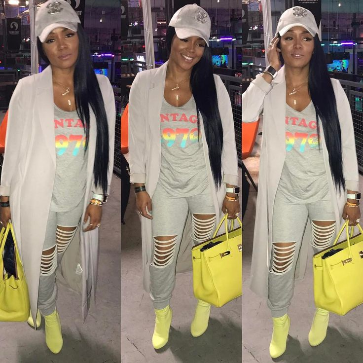 "9,860 Likes, 39 Comments - Rasheeda (@rasheedadabosschick) on Instagram: ""What a day... #chillday dressed in @pressedatl Slash Joggers, Gray Double Layer Cardigan & CR…"""