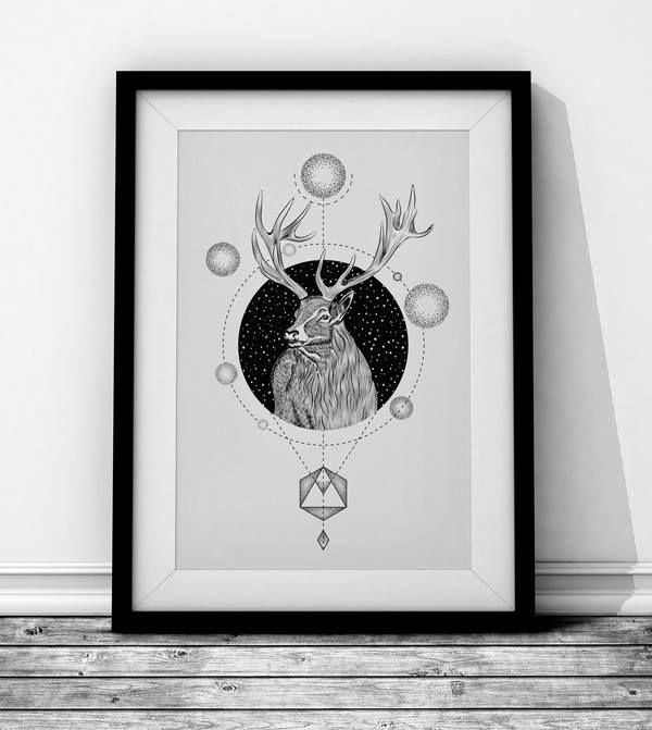 Deer Wieprz Studio Design. #deer #animal #geometry #frame #black #poster