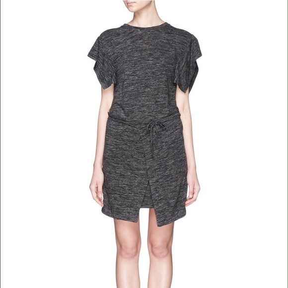 """Isabel Marant Etoile Tie Waist Mini Dress Isabel Marant Étoile Anthracite marled slub jersey short-sleeve Wad dress styled at front with asymmetric wrap panels. SOLD OUT everywhere. Size 40 French equivalent to a us 6  Relaxed fit, banded jewel neck 33"""" from shoulder to hem (approximately) Slips on, ties at waist Unlined Available in Anthracite 50% polyamide, 30% linen, 20% virgin wool Dry clean Imported Isabel Marant Dresses Mini"""