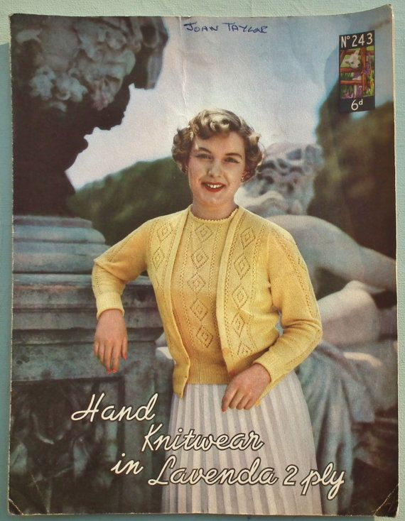 8b58f0539b33e Vintage 1940s 1950s Knitting Pattern Women s Twin Set Cardigan Sweater  Jumper Lacy Design 40s 50s original pattern Lavenda Lister No. 243 UK