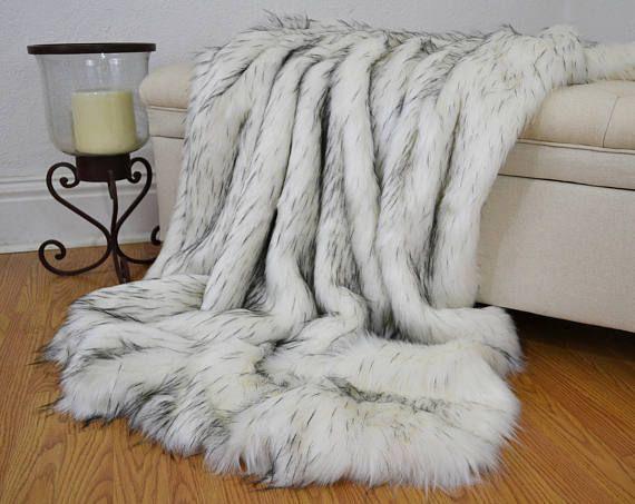 Faux Fur Throw Blanket White Norwegian Fox Faux Fur Fake Fur Etsy Fur Throw Blanket White Throw Blanket Throw Blanket White faux fur throw blanket