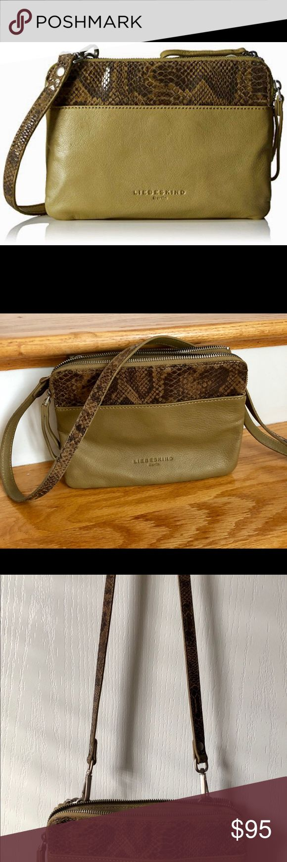 Liebeskind Berlin Karen green / snake cross body used one time like new soft leather removable strap to be used as clutch camouflage green and snake details multi compartments  interior pockets strap 24.5 Liebeskind Bags Crossbody Bags