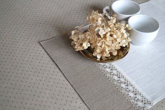 Linen Placemats Reversible Natural Placemats Easter Mats Shaby Chick Placemat Gray And White With Lace