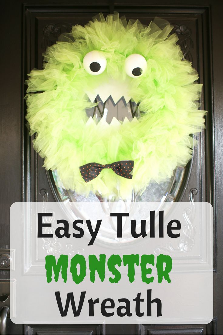 This fun tulle Monster Wreath is way easier to make than you think. All you have to know is how to tie a knot!