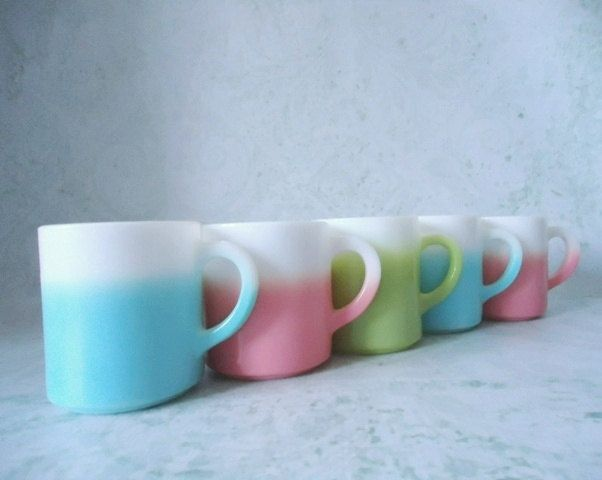 """Five iconic 1950s Hazel Atlas coffee mugs in turquoise, pink, and green fade, better known as """"Crinoline or Ripple."""""""