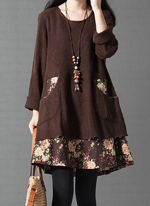 Cotton Floral Long Sleeve Knee-Length Casual Dresses