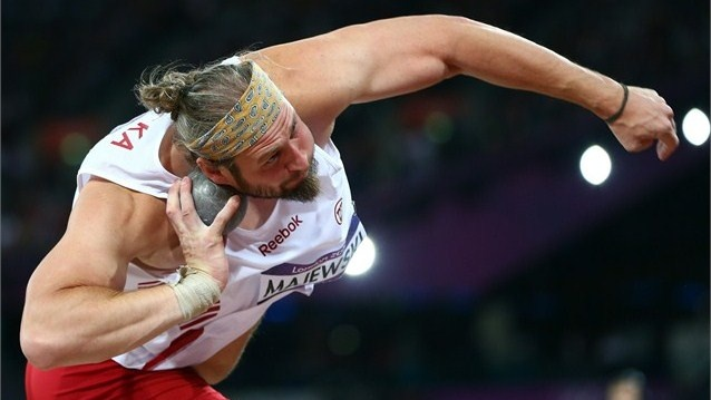 Tomasz Majewski competes in the Shot Put final.  Gold medallist Tomasz Majewski (30/08/1981 - NASIELSK (POL)) of Poland on his way to triumphing in the men's Shot Put final on Day 7 of the London 2012 Olympic Games.