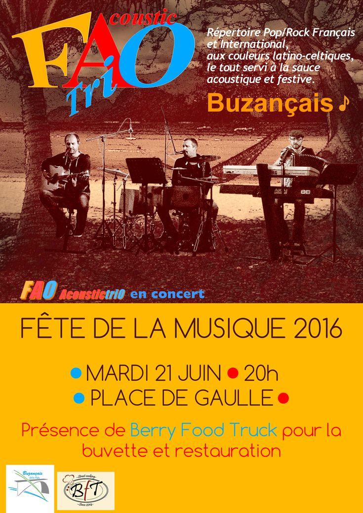 Musique en fête, Buzançais, Place de Gaulle, Mardi 21 Juin 2016, 20h00