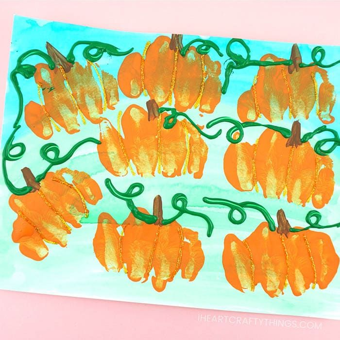 Knuckle Print Pumpkin Patch Art Project for Kids