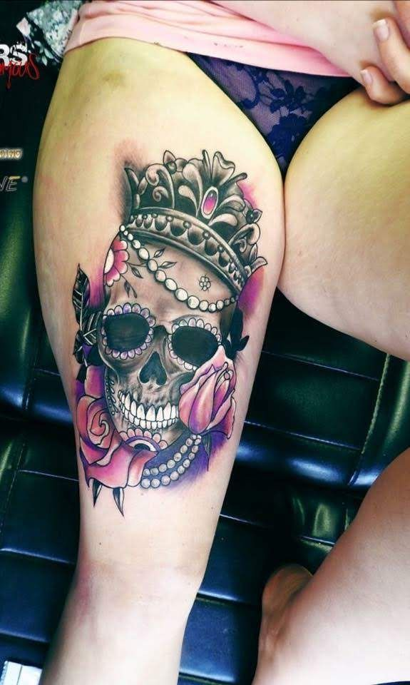 42e70a1c2 Pin by Meghan Rhodes on Ink   Skull thigh tattoos, Feminine skull tattoos,  Skull tattoos