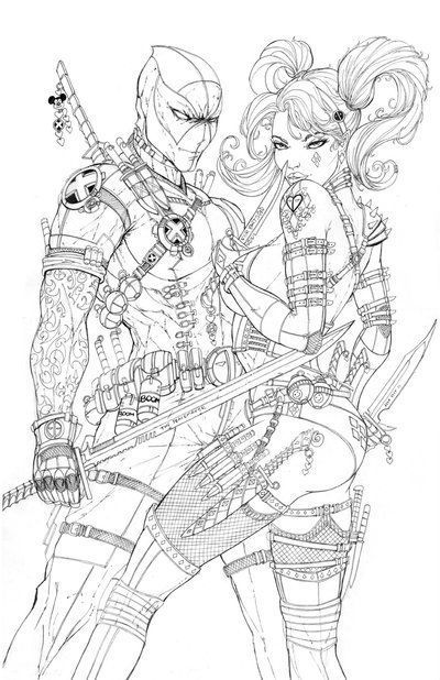 harley quinn adult coloring vari… | Deadpool coloring|Deadpool ...