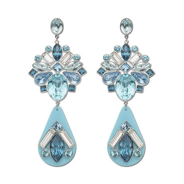 Swarovski Triumphal Blue Pierced Earrings ($75) ❤ liked on Polyvore featuring jewelry, earrings, vintage style earrings, floral earrings, swarovski jewelry, chandelier jewelry and floral jewelry