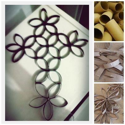 Cruz hecha de rollos de papel higienico proyectos por - Manualidades con rollos de papel higienico navidenos ...