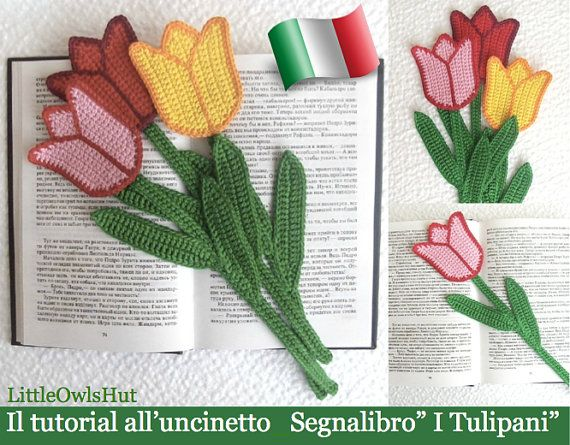 "044IT crochet tutorial Bookmark ""Tulipanii"". Amigurumi Toy-PDF Of Zabelina Etsy"
