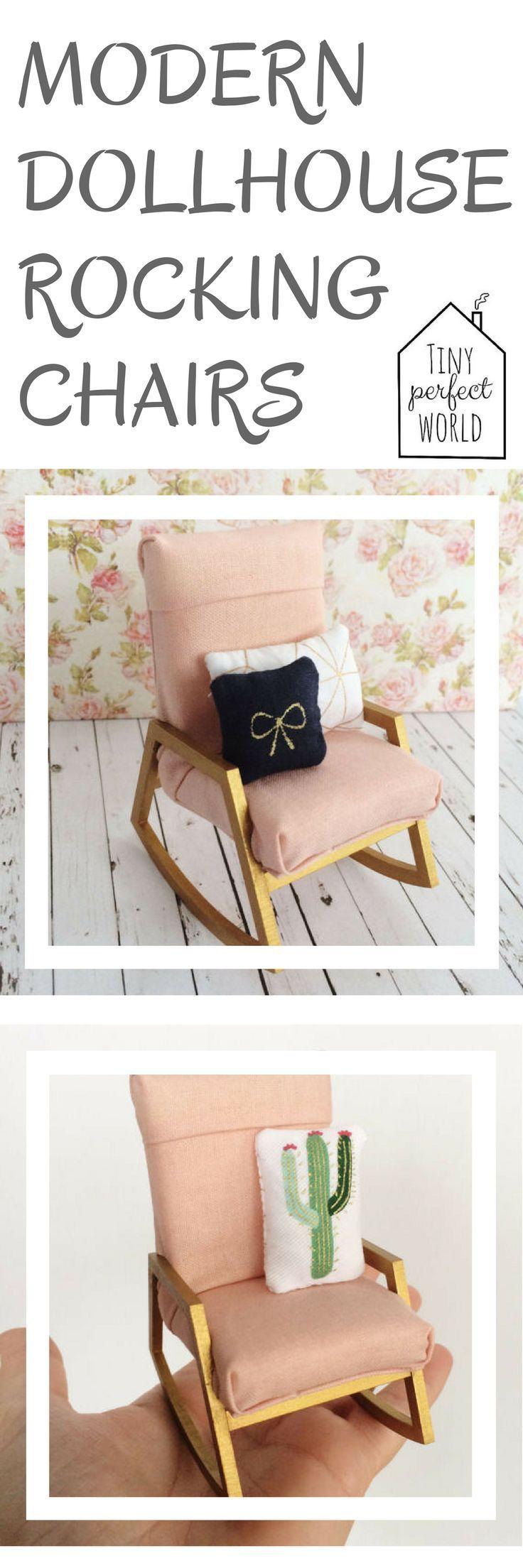 Miniature Modern Rocking Chair - Modern miniature chair - dollhouse rocking  chair - miniature nursery chair - pink gold dollhouse chair