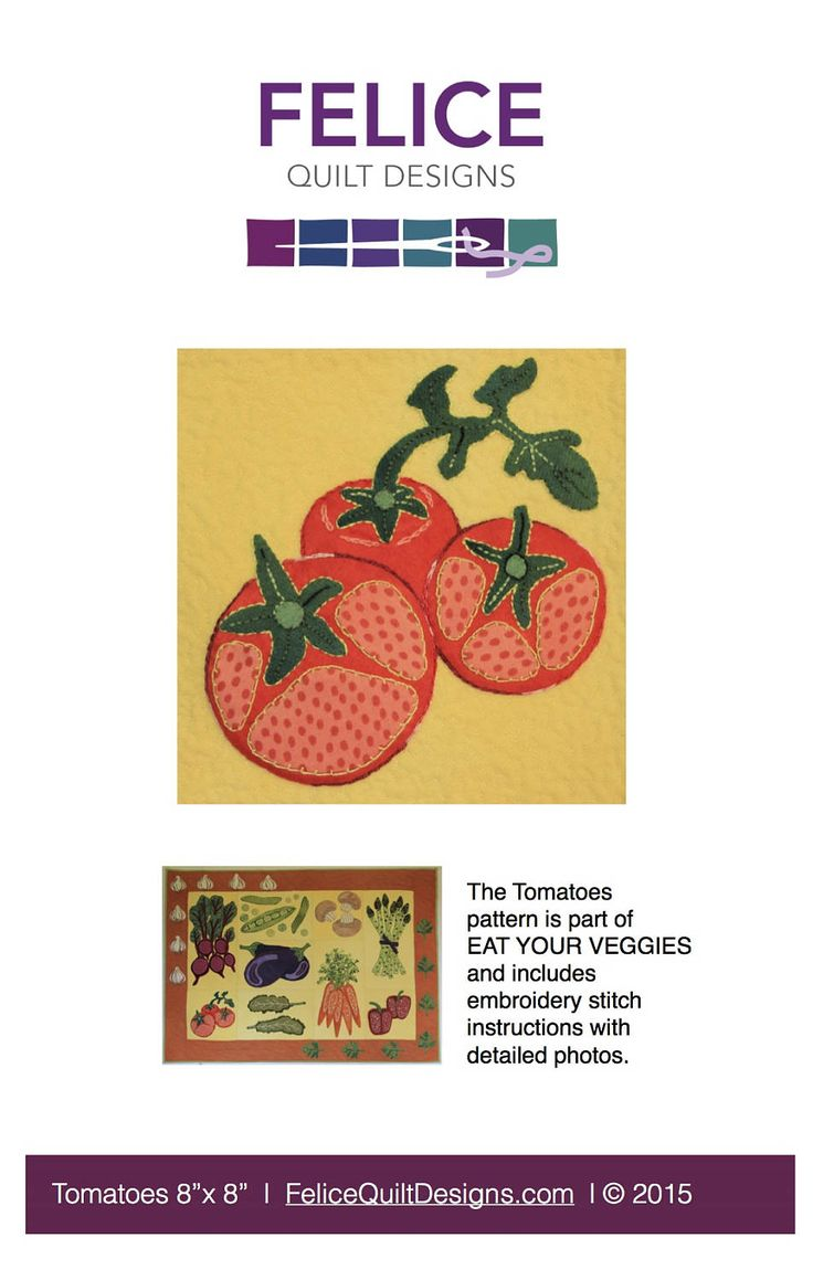 Tomatoes - part of the Eat Your Veggies wool applique quilt by FeliceQuiltDesigns on Etsy