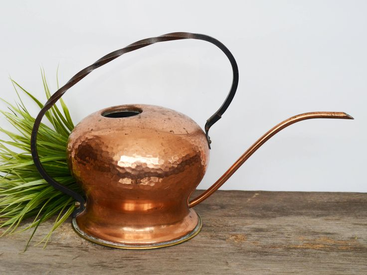 Vintage Copper Watering Can, Hammered Copper, Victorian Garden, Antique Watering Can, Greenhouse, Terrarium Garden Tools, Gardening Gift by Trashtiques on Etsy https://www.etsy.com/ca/listing/570707788/vintage-copper-watering-can-hammered