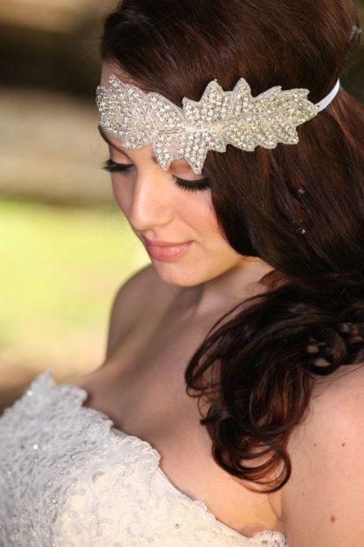 Rhinestone Headband Grecian Headpiece Wedding Hair by JVGEMS, $45.00