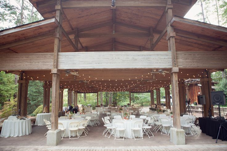 The Aldridge Garden's Pavilion all dressed up and waiting for Elena & John's guests. 9-16-15. Image by SayBre Photography. Décor by Cloth of Gold and Elle Affairs.