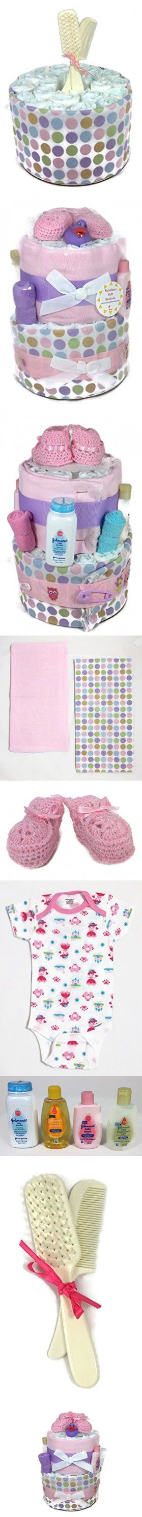 Sunshine Gift Baskets - Pink Diaper Cake Gift Set with Pink Booties