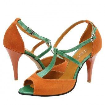 Sandale casual dama Clarette portocaliu-verde