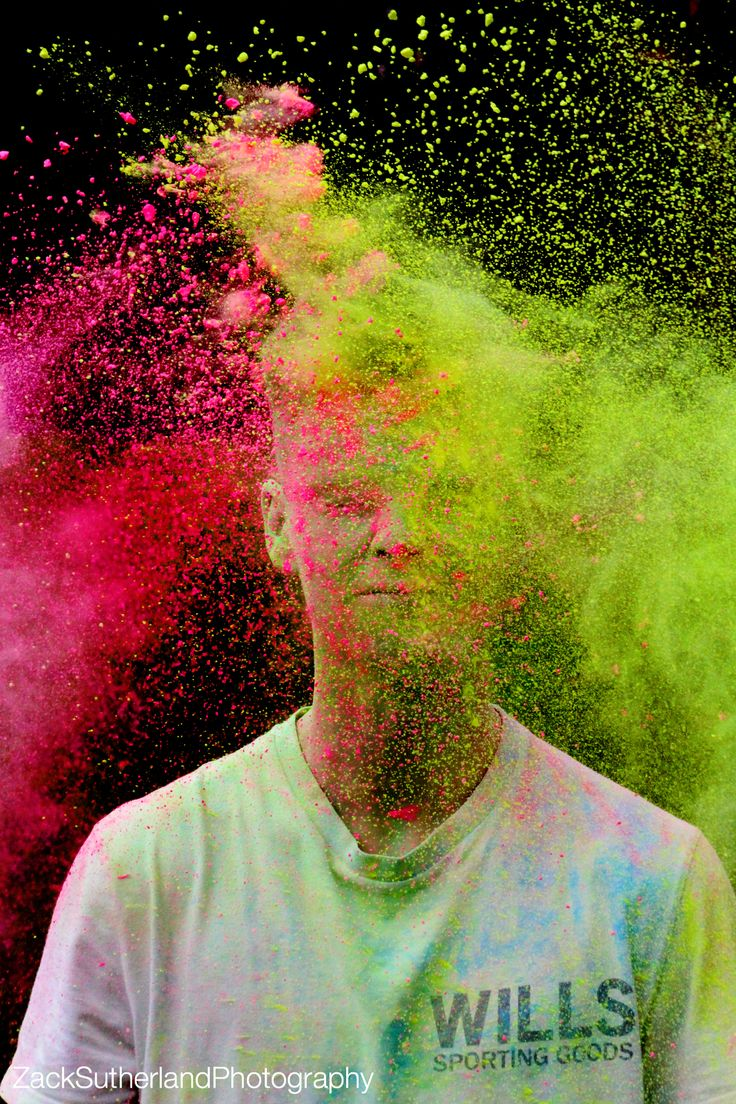 Powder paint photoshoot Creative action powder paint colour photography neon bright fast shutter black