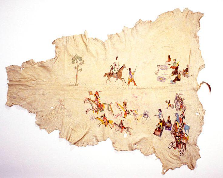 """Рисунок на шкуре, Кайова. Hangun. Джеймс Муни 1904 год, Оклахома. """" Подготовка к Танцу Солнца. Установка Магической Палатки."""""""