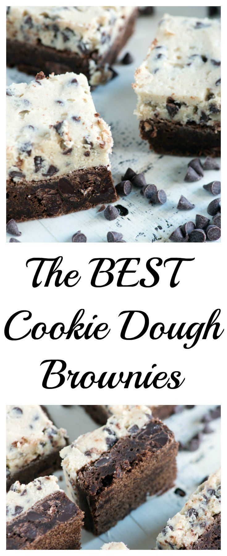 Cookie dough brownies are like getting two desserts in one.  A rich  fudgy brownie with a cookie dough frosting, perfect when you can't decide between a cookie or a brownie.
