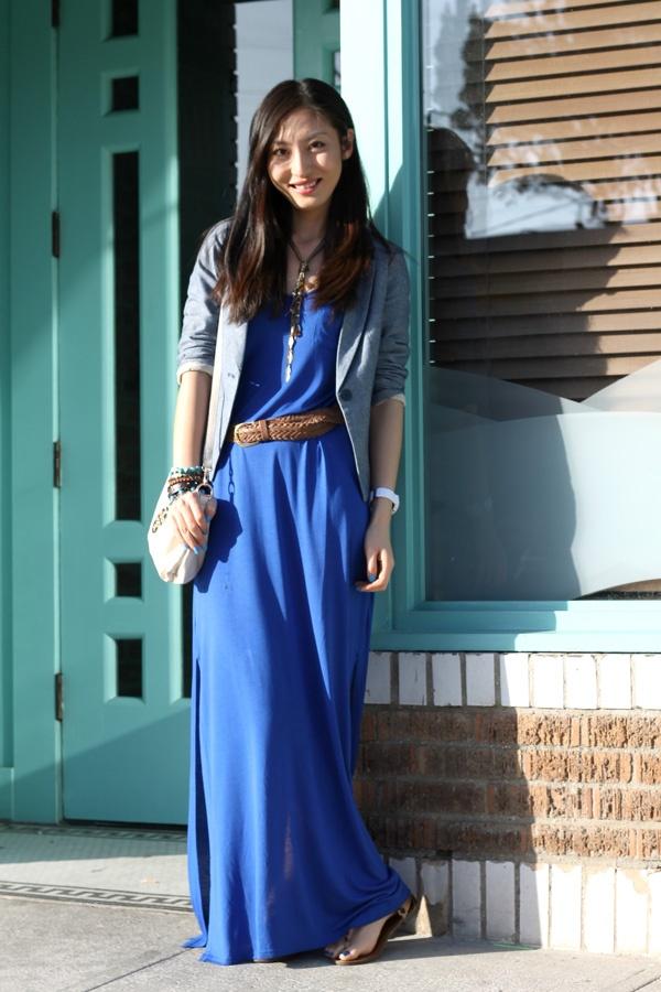 It's all about blue~H royal blue maxi dress & Denim blazer