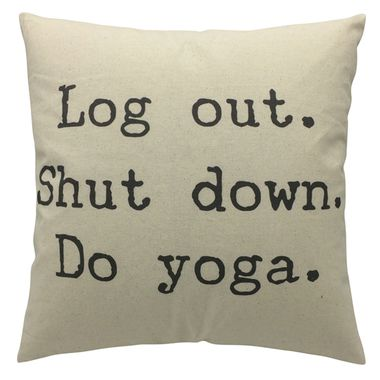 "Do Yoga"""" Typography Throw Pillow"