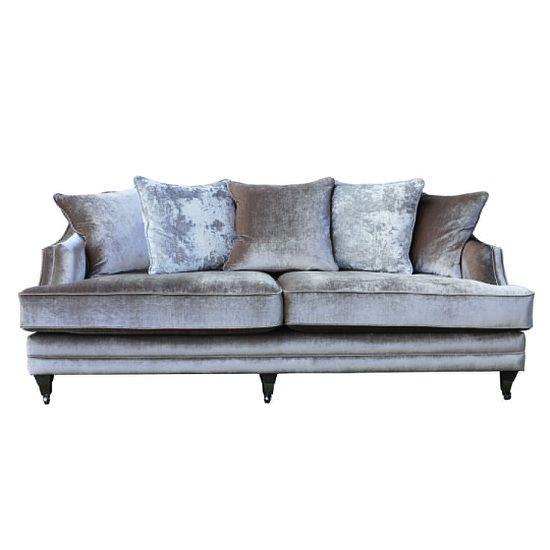Preston 4 Seater Sofa In Champagne Velvet With Dark Wooden ...