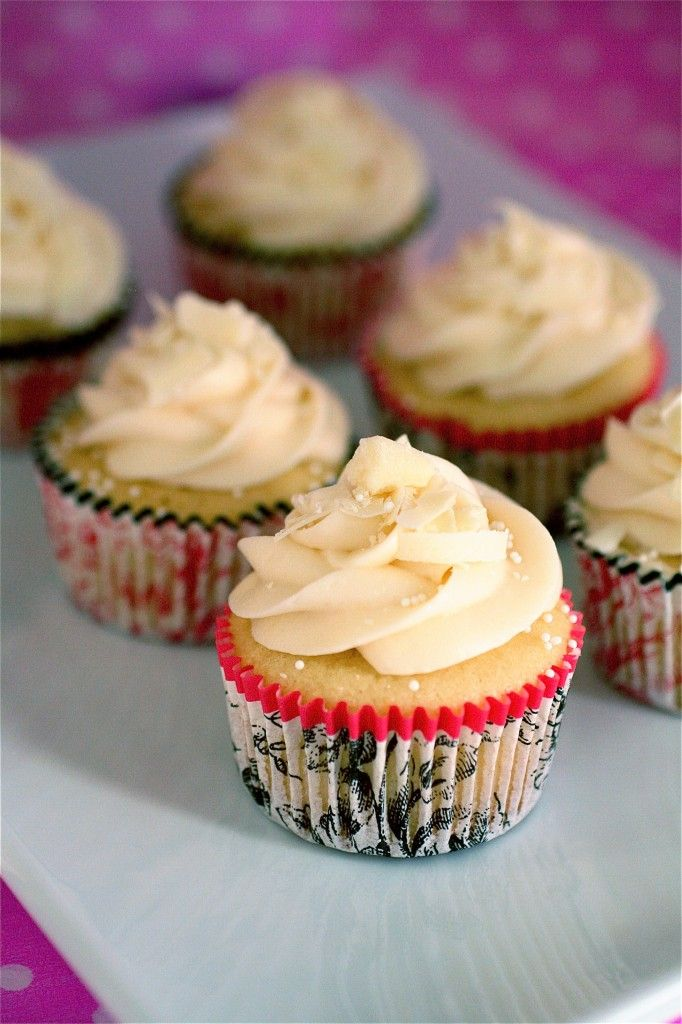 White chocolate cupcakes with white chocolate cream cheese frosting.