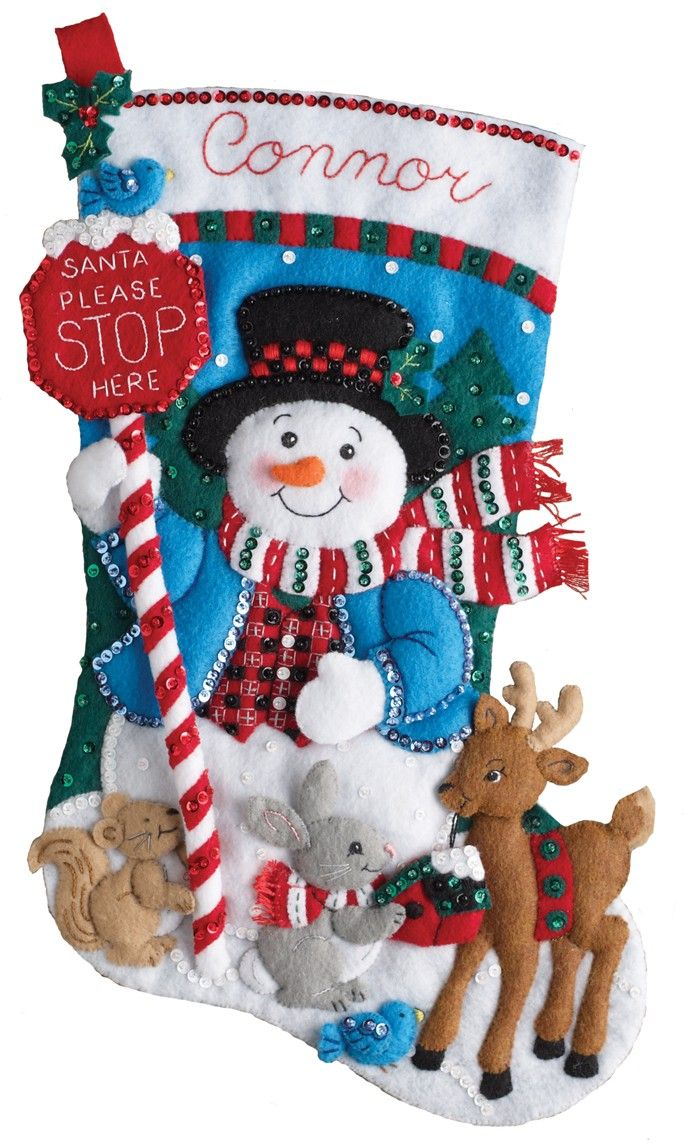 """New for 2017, just released Bucilla Christmas stocking. This kit is entitled """"Santa Stops Here"""". This particular design has a matching set of Bucilla felt ornaments (6 piece set)."""