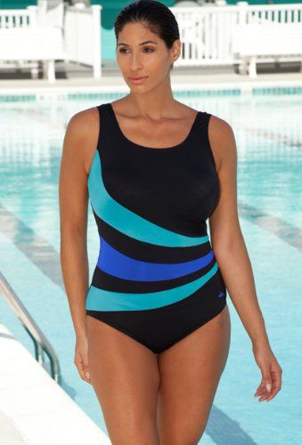 Aquabelle Chlorine Resistant! Turquoise and Royal Spliced Swimsuit Plus Size Swimwear - Turquoise/Royal - Size:16