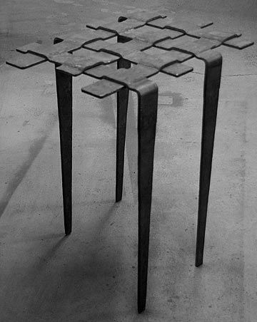hand forged. metal work. steel table. modern weave iron table
