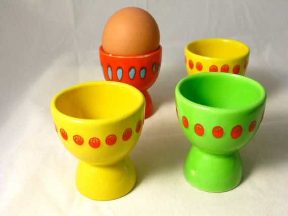 Set of 4 Colorful Italian Egg Cups by AZCindy on Etsy