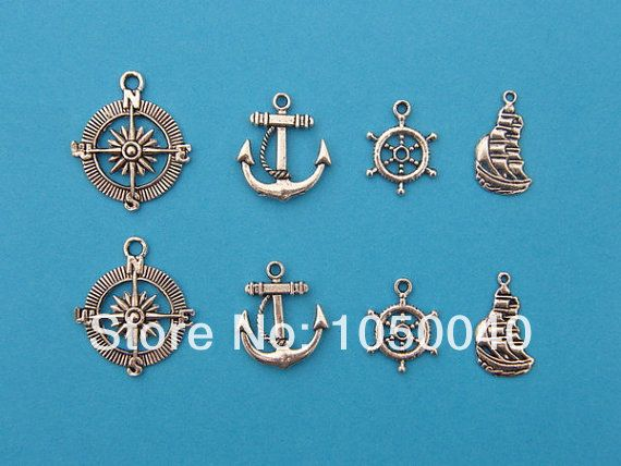 100pcs mixed tibetan silver tone compass ship rudder anchor charm pendant jewelry craft diy handmade floating