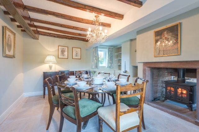 There is a double sided log burner in the dining room