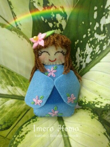 Kawaii blue felt doll