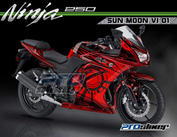 Modifikasi Ninja 250 Karbu Warna Merah Striping Motif SUNMOON V1 01 Merah MotoGP Rossi Replica