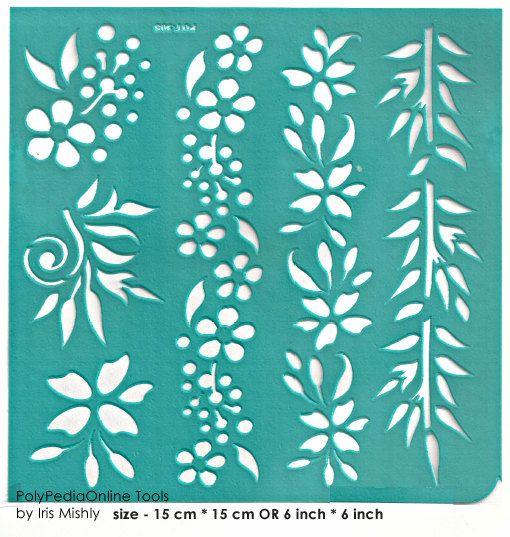 """Stencil plantillas patrón plantilla """"flor de frontera 4"""" 6 pulgadas/15 cm, reutilizable, adhesivo flexible, de arcilla polimérica, tela, madera, vidrio, tarjetas"""