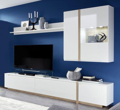 Schrankwand Wohnwand Candy Eiche Bianco Und Hochglanz Weiss 4 Tlg Modernes Fernsehzimmer Wohnen Wohnzimmer Tv Wand Ideen