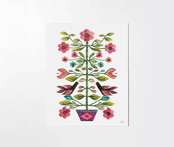 Romanian folk tapestry - 8x10 art print