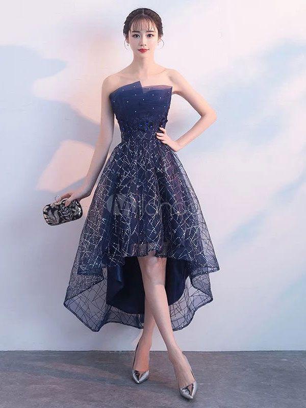 Short Prom Dresses Strapless Sequin Dark Navy High Low