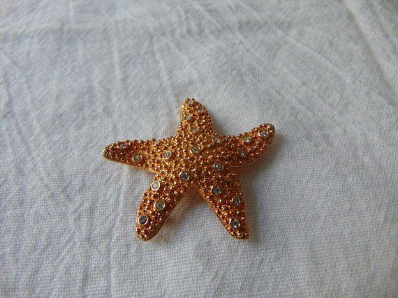 swarovski swan signed clear crystal starfish brooch gold