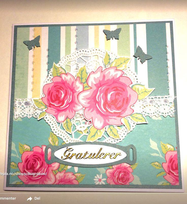 Handmade card. Romantic roses