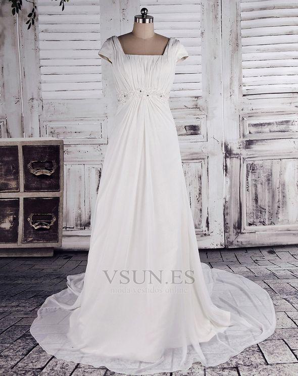 Vestido+de+novia+Imperio+largo+Diosa+vestido+de+novia+Cristal+Gasa+Rectángulo