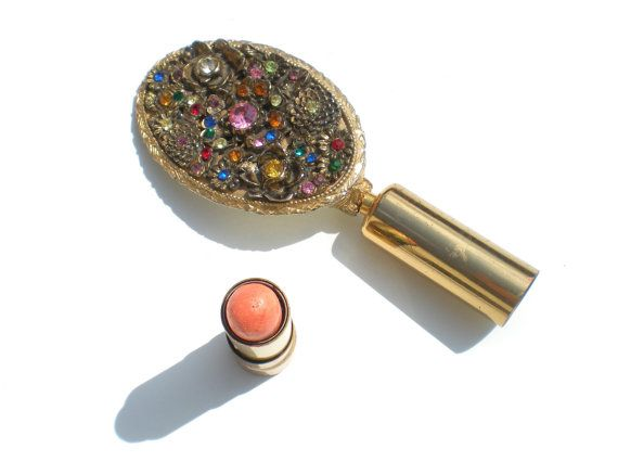 Jeweled Rhinestone Compact Built in Mirror and by RibbonsEdge