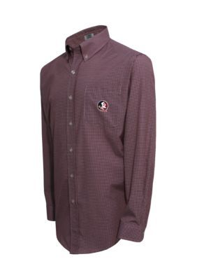 Campus Specialties Florida State Seminoles Long Sleeve Small Gingham Check Woven Shirt - Garnet/White - Xl