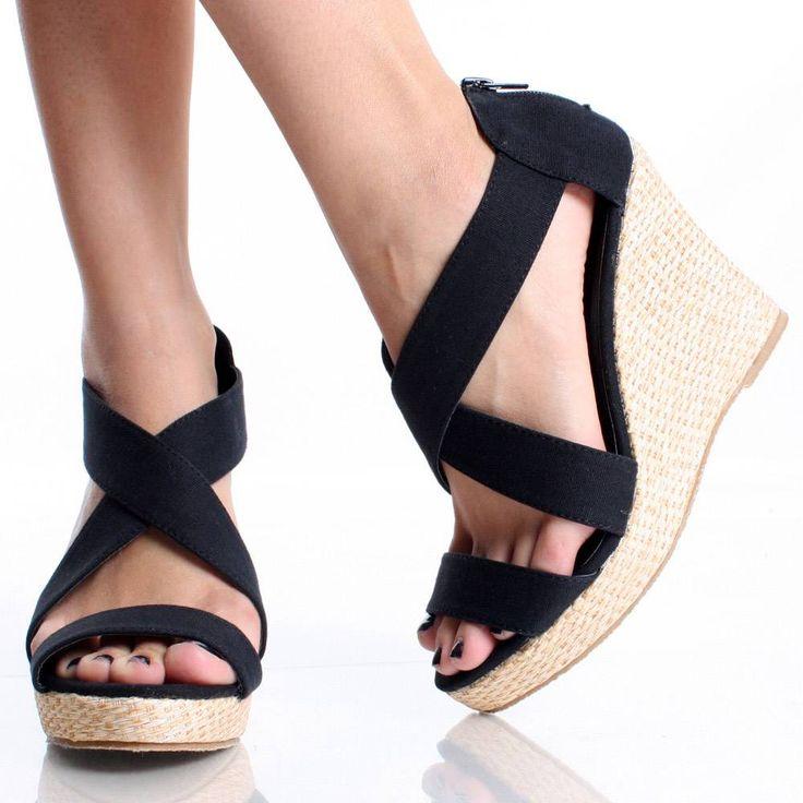 cute high heel shoes | Womens Black Wedge Shoes Open Toe ...